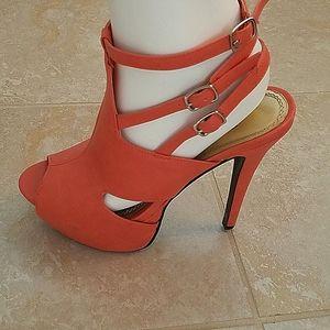 Coral strappy stiletto platform heels